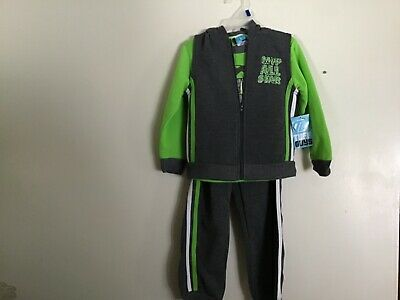 Little Boys SZ 4T 3 Piece Athletic Outfit NWT Gray with Neon Green MVP All Stars