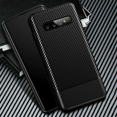 For Samsung Galaxy S10 S10e S10 Plus Carbon Fiber Shockproof Soft TPU Case Cover