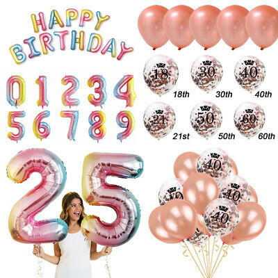 Happy Birthday Bunting Banner Balloons 18/21st/30/40/50/60th Party Decorations