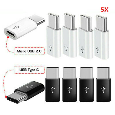 5x Micro USB Female To Type C Male Adapter Converter Micro-B To USB-C Connector