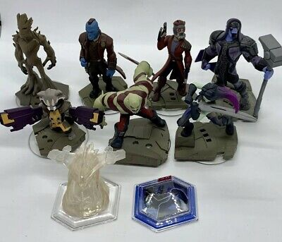 Disney Infinity Guardians Of The Galaxy 7 Figures Bundle Playset Crystal Disc