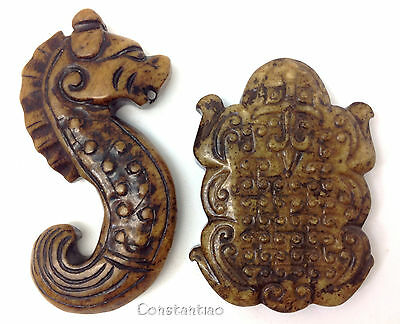 Old Chinese Jade Hand Carved Seahorse And Lucky Toad Gift Set