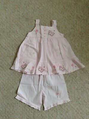 GIRL NEXT 2-3 years PINK FLORAL TOP/TUNIC SHORTS SUMMER SET