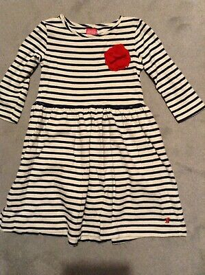 Joules Girls Navy Breton Stripe Striped Jersey Dress 11-12 years VGC