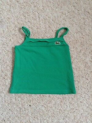 girls lacoste vest top tshirt age 4 years straps vest top in green/new