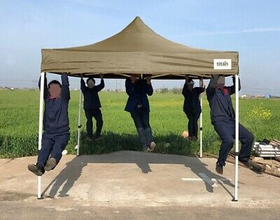NEW TITAN® HEX 40 HEAVY DUTY POP UP INSTANT GAZEBO STRONGEST FRAME KHAKI 3m x 3m
