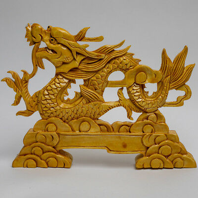 Wooden Hand Carved Display Chinese Dragon Art Sculpture