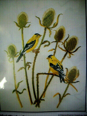 Goldfinches w thistle  linen wool crewel embroidery unopen kit Bucillas