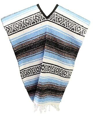 Traditional Mexican Poncho - LIGHT BLUE - ONE SIZE FITS ALL Blanket Serape Gaban