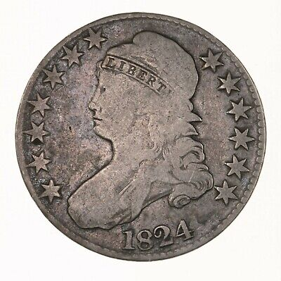 Raw 1824 Capped Bust 50C US Mint Circulated Early Silver Half Dollar Coin