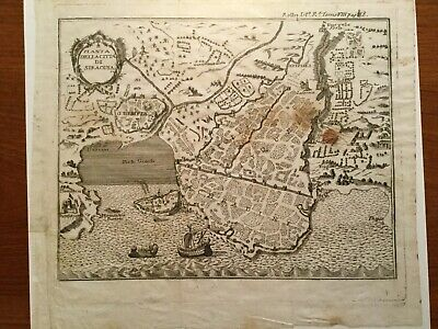 1740 d'ANVILLE's SYRACUSE SICILY ENGRAVED MAP ROLLIN's ROMAN HISTORY SIRACUSA