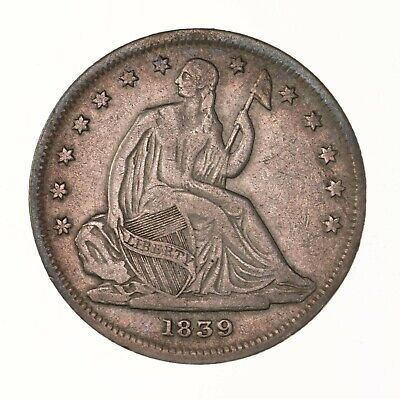 Raw 1839 Seated Liberty 50C No Drapery Uncertified US Mint Silver Half Dollar