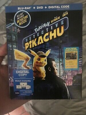 POKEMON DETECTIVE PIKACHU (2019, BLU-RAY + DVD) WITH SLIPCOVER No Digital Copy