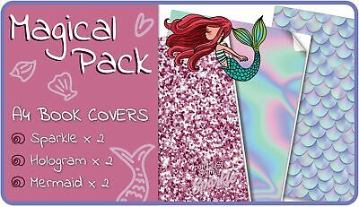 Magical A4 School Book Covers - 6 pack Slip-On Mermaid School Book Jackets