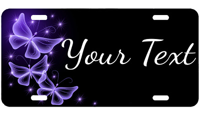 Personalized Text Name Custom Monogram License Plate Purple Butterflies Auto Tag