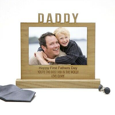 Personalised Wooden Desk Photo Sign Engraved Fathers Day Gift for Dad or Pop