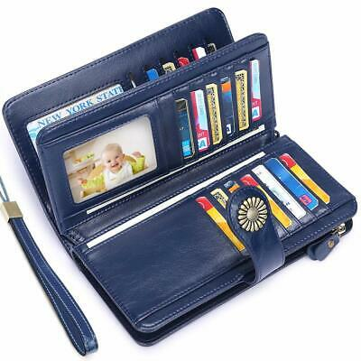 UMODE Vintage Style Genuine Leather Large Capacity RFID Wallet Organizer for ...