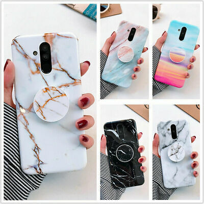 Marble Phone Case Cover For IPhone Samsung Galaxy S7 Note 8 S10 + Socket Holder