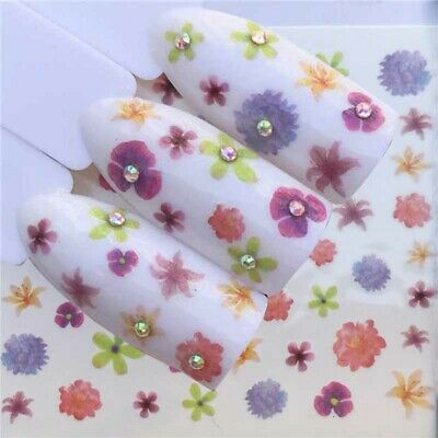 10sheets 3D Nail Art Transfer Stickers Flower Decal Manicure Decoration Tips DIY