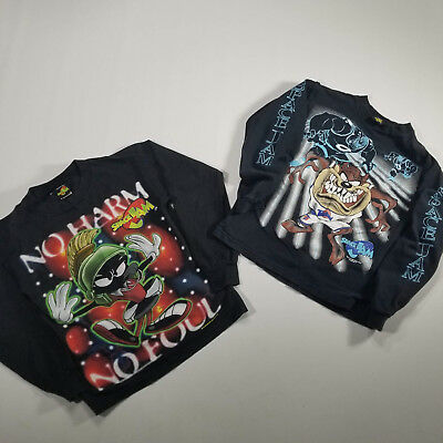 VTG SPACE JAM Long Sleeve Graphic T Shirt SET of 2 Youth LARGE Black TAZ MARVIN