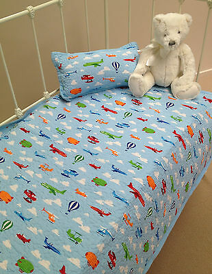 2 pce  Baby Nursery Cot Quilt & Rectangle Cushion with Trains and Planes
