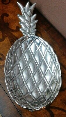 Vintage PINEAPPLE serving DISH ( Wilton Armetale ) RWP salad pewter PLATE footed