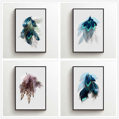 minimalism feather Printed Canvas Wall Art Painting Poster Home Decor Unframed