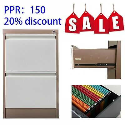 2 Drawer Metal Heavy Duty Steel Filing File Cabinet office storage Lock