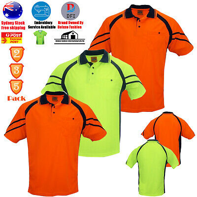 2 3 5 PACK Hi-Vis Safety Short Sleeve Polo T-Shirt Work Wear Cooldry WORKWEAR