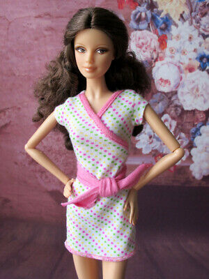 BARBIE Doll Short Sleeve Casual Dress with Bow Outfit Clothes