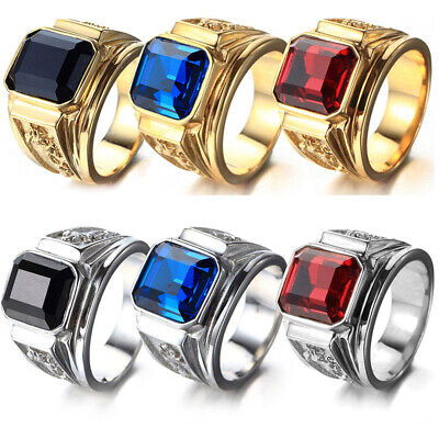 Square Crystal Men's Fashion Jewelry Silver Gold Plated Dragon Animal Punk Rings