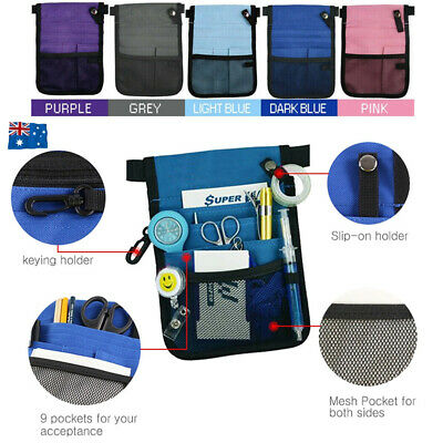 Nurse Pouch Bag Vet Physio Teacher Medical Pockets Waist Belt Wallet Keyring AU