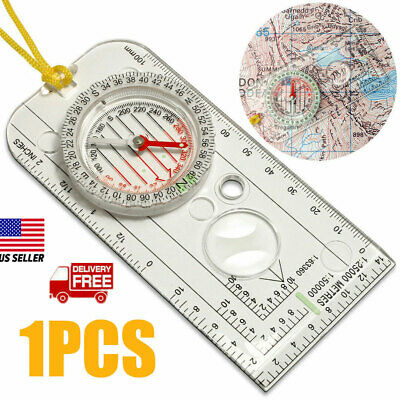Highlander Scout Sighting Compass COM004 With Neck Cord /& Magnifying Viewer