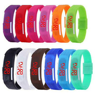 Touch Screen LED Digital Silicone Sport Watch Bracelet Wrist Watch 250mm  SSN