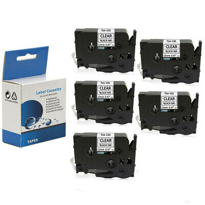 """5 PACK Compatible Label Tape 12mm 1/2"""" for Brother TZ131 Tze131 P-Touch PT-D120"""