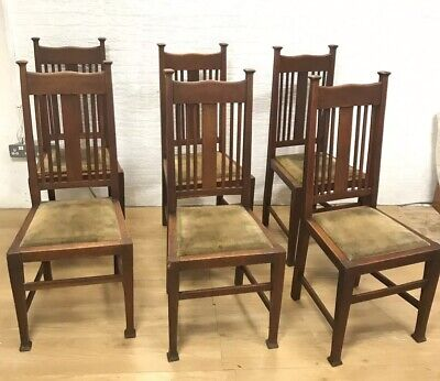 Set of 6 Victorian Oak Arts & Crafts Style Dining chairs. Labled W.B & S H.W