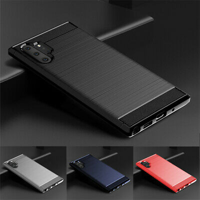 For Samsung Galaxy Note 10 Plus Slim Fiber Carbon Silicone Soft TPU Case Cover