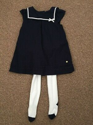Baby Girls M&S Navy Blue Dress & Cream Tights Outfit Set 6-9 Months B36
