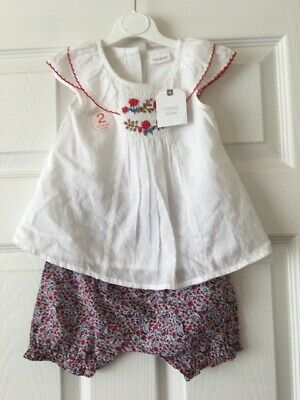 Baby Girls Next 2 Piece Outfit Set White Top & Floral Shorts 6-9 Months B36