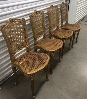 Antique Set Of 4 Gilt Cane French Chairs Neoclassical