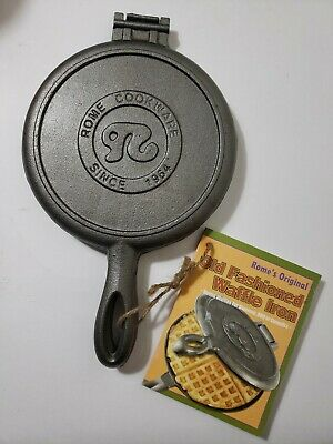 Rome Waffle Maker Cast Iron Pan Stove Camping Outdoor Indoor Kitchen Campfire