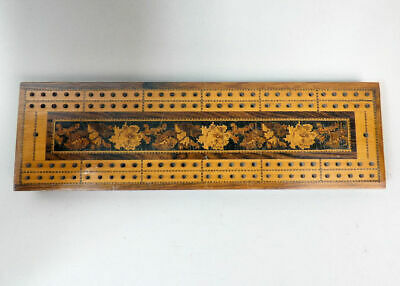 Victorian Antique Rosewood Tunbridgeware Cribbage Board With Markers C.1880