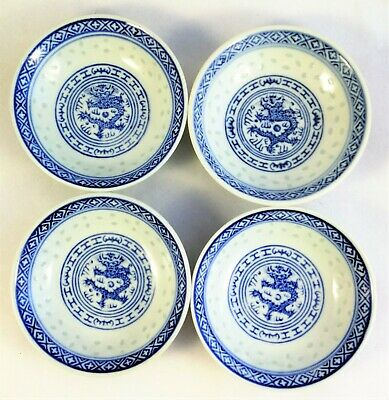 Chinese Porcelain Cups Bowls Set 4 Antique Blue White Old Vintage China Modern