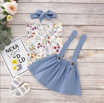 AU Toddler Kid Baby Girl Floral T-Shirt Top Strap Skirt Headband Outfit Clothes