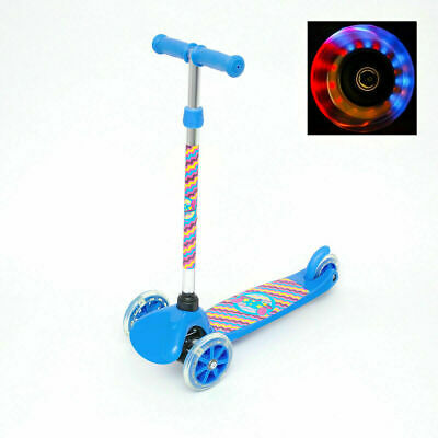 Kids Scooter Child Kick Flashing LED Light Up 3 Wheel Push Adjustable Blue
