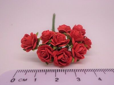 1:12 Scale 10 Roses Dolls house Miniatures Flowers, Garden (Red)