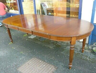 Good Antique Wind Out Mahogany Dining Table With Three Extra Leafs Seats 8 To 10