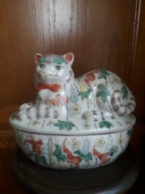 Antique Chinese Cat Tureen