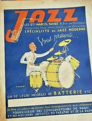 Original Vintage 1930 Jazz French Lithographic Poster 16.5 x 21