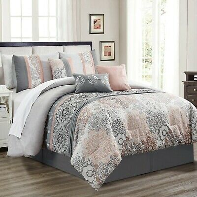 Queen, Brown 7 Piece Taran Embossed and Pleated Comforter Set Bed-In-A-Bag